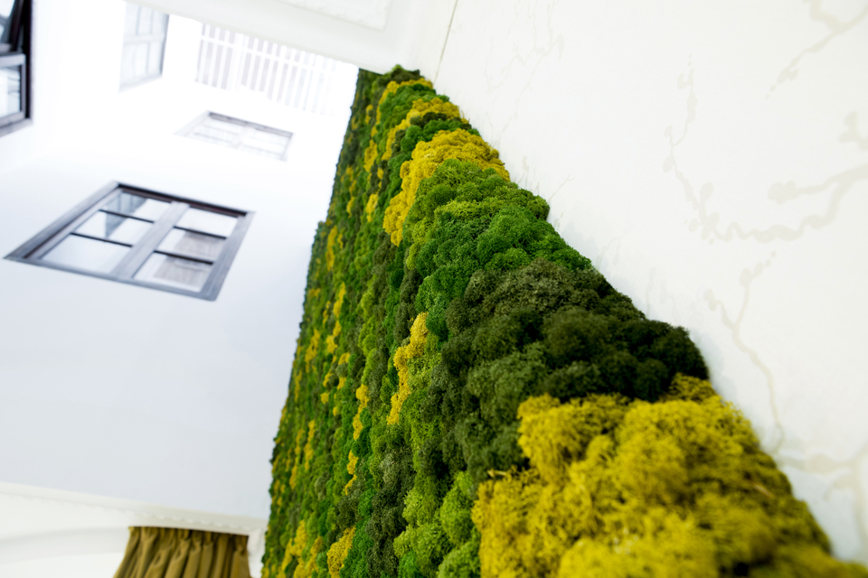Greenwall liquen custom decoración atelier Higinio Mateu