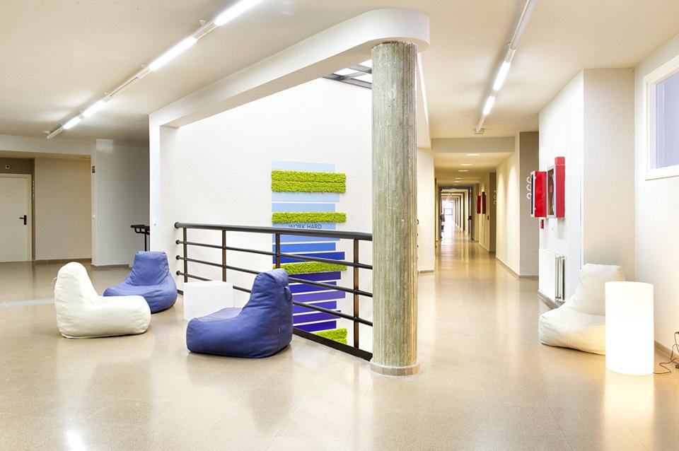 Residencia estudiantes decoración vegetal ambiente diseño