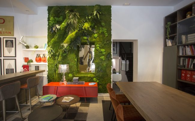 Interiorismo showroom jardin vertical greenarea
