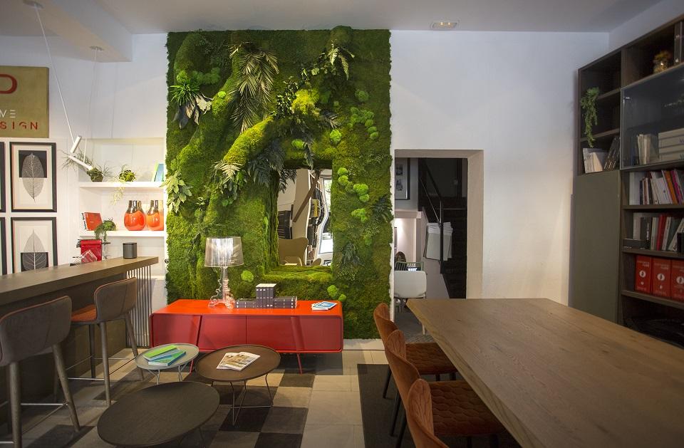 Interiorismo showroom jardin vertical greenarea