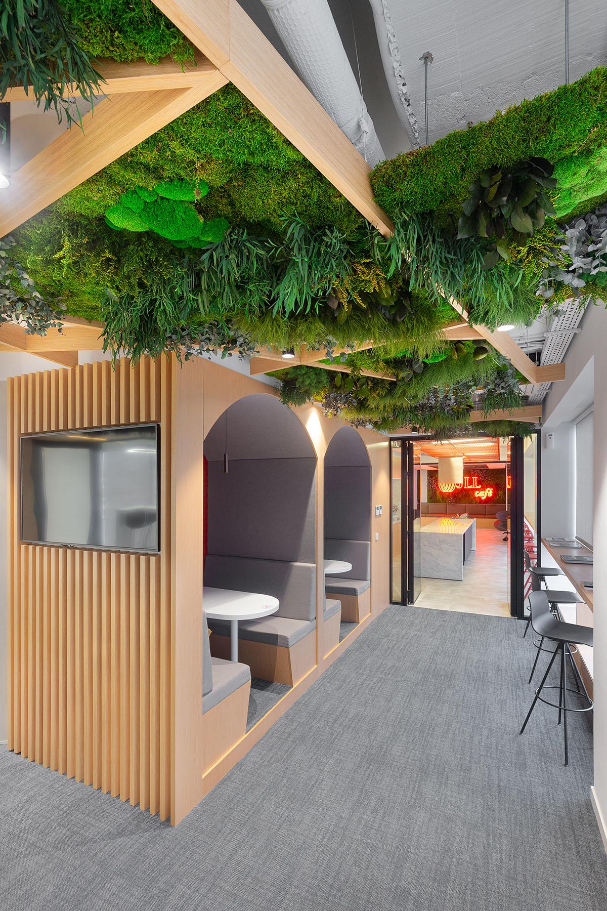 Techo verde con plantas preservadas interiorismo oficinas