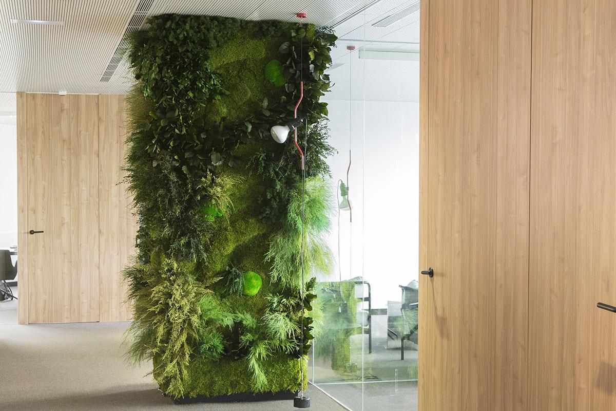 revestimiento columna con jardín vertical interior en oficina