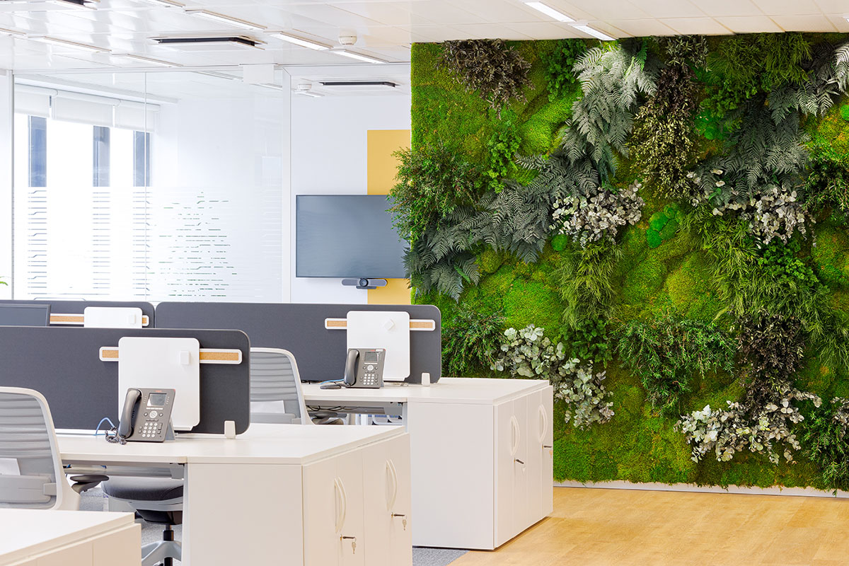 preserved green wall in offices