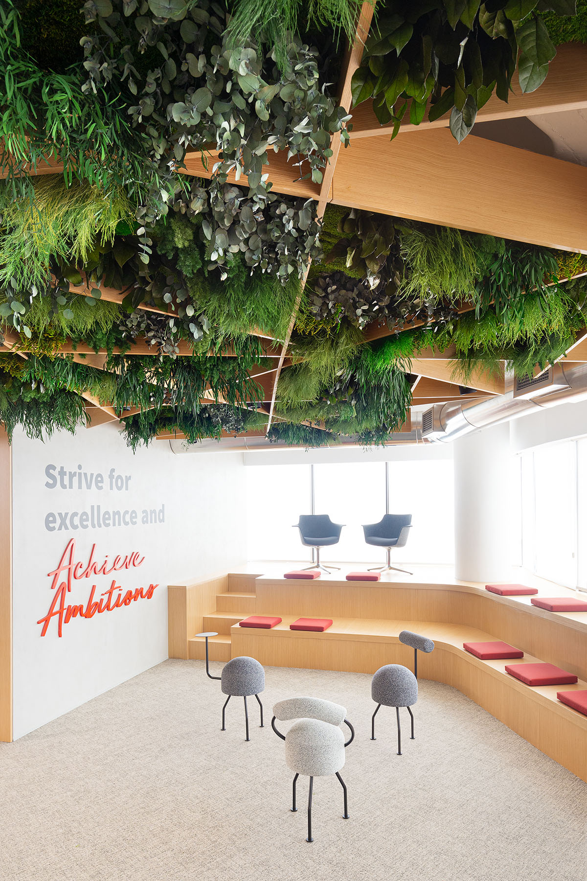 Green ceiling in JLL Tetris offices of Lisboa