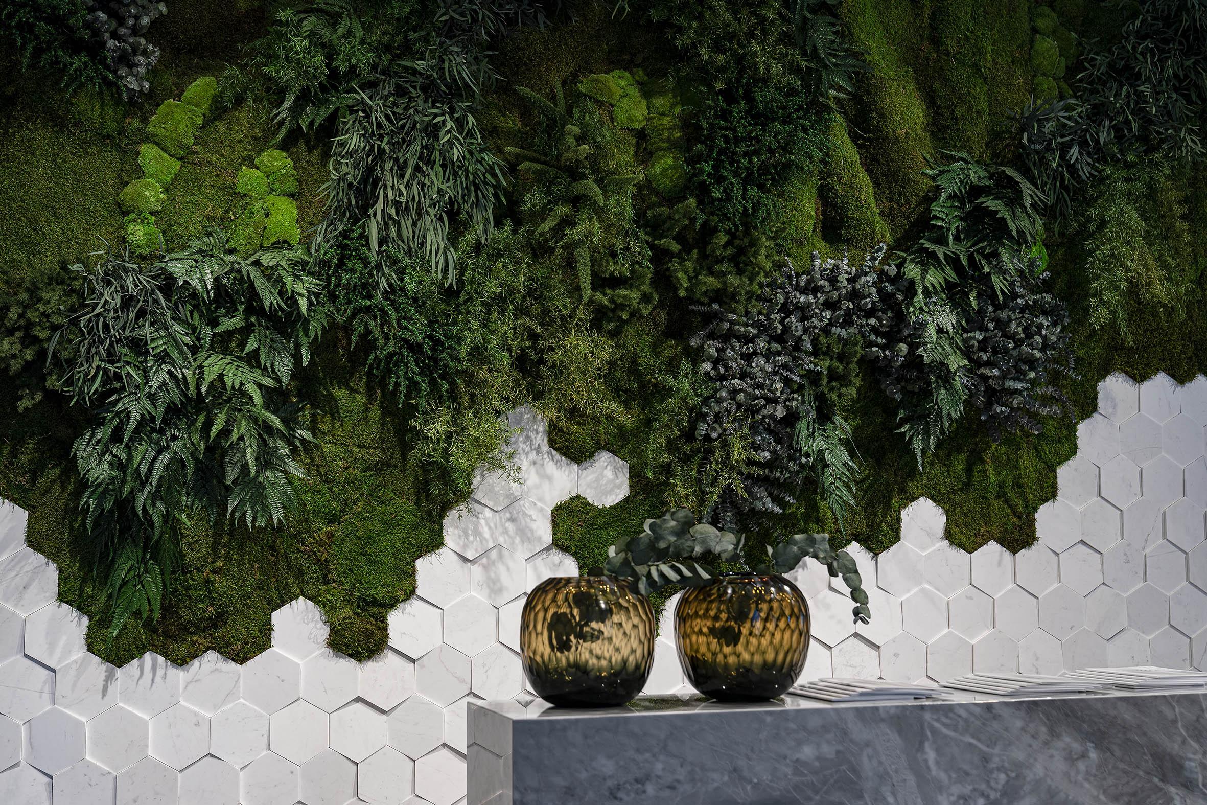 Muro vegetal plantas preservadas revestimiento