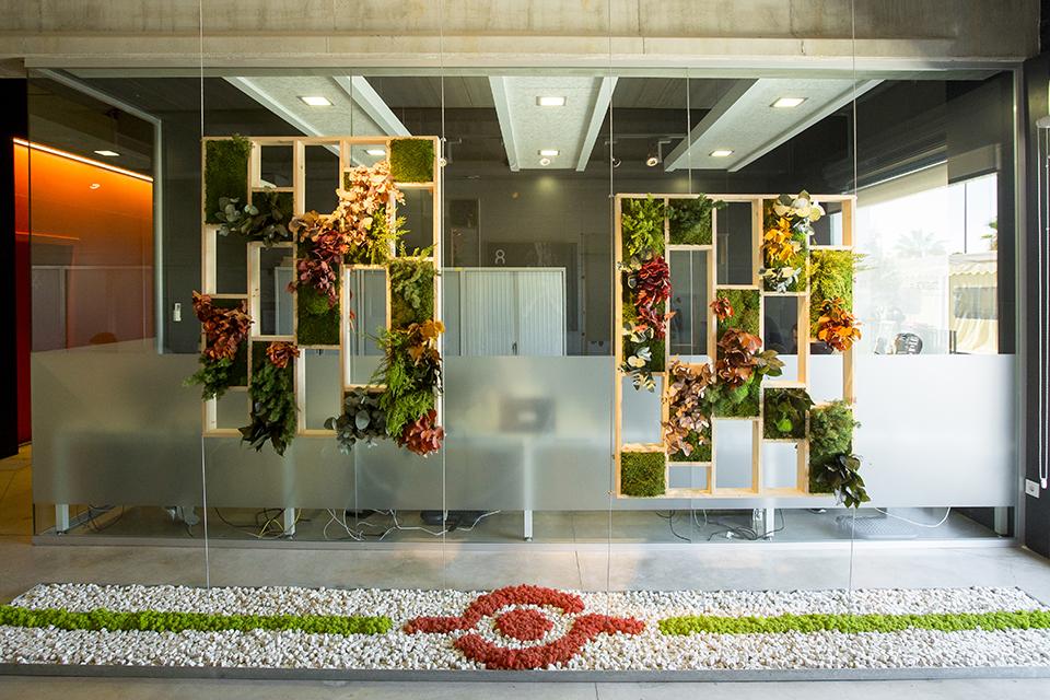 separador de ambientes con plantas para oficina