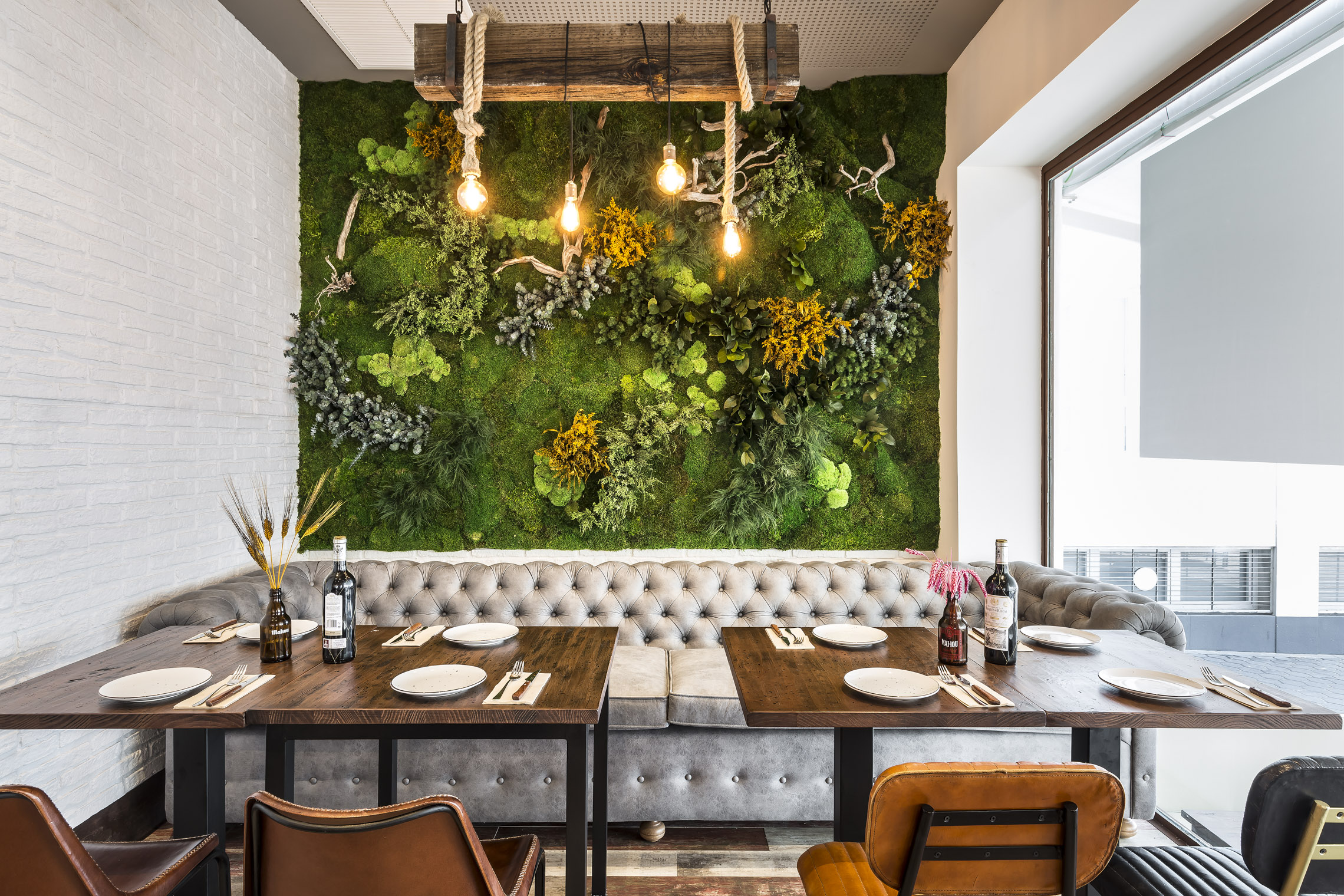 Pared vegetal restaurante sin mantenimiento