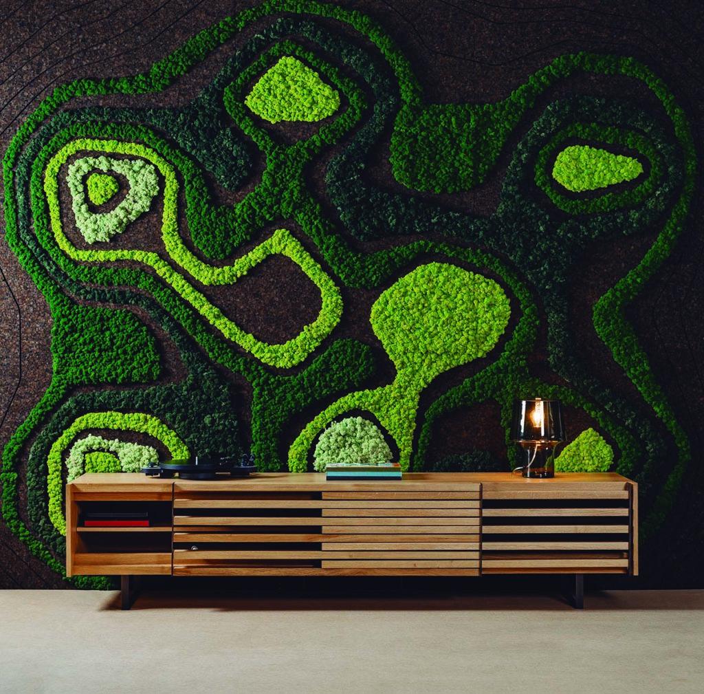 paneles acústicos de corcho y plantas preservadas