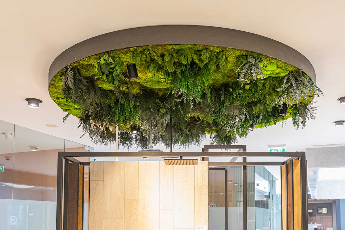 Techo con plantas preservadas sin mantenimiento